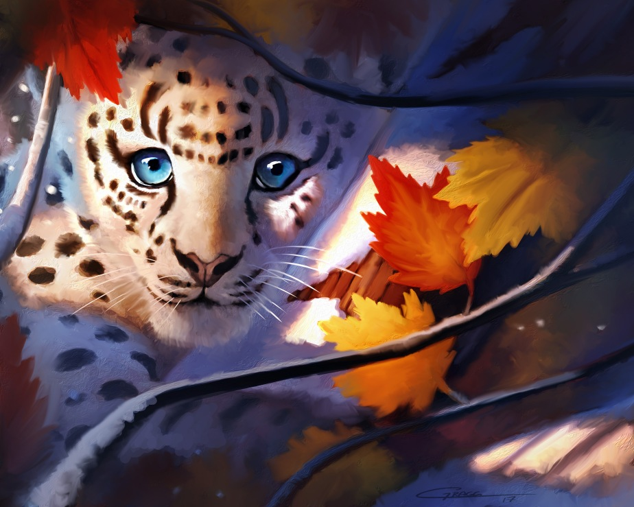 Leopard in the Leaves2